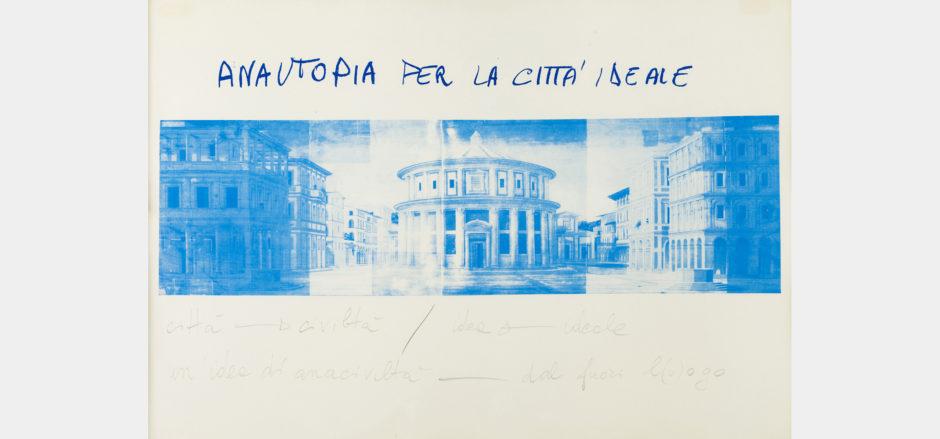 Anna Oberto, Anautopia per la città ideale, 1973, serigrafia a un colore (blu), scrittura a grafite su cartoncino, cm 70x100