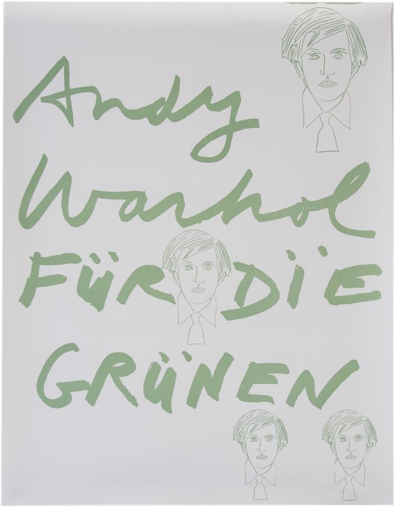 Andy Warhol Für Die Grünen, data sconosciuta, offset a colori su carta bianca - Courtesy collezione privata, Milano.