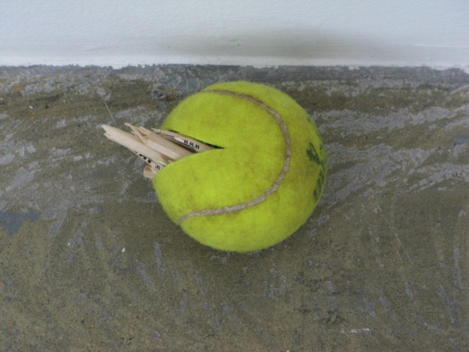 Claire Fontaine, Balls sculpture - Untitled (tennis ball sculpture) 2008 palle da tennis riempite con vari oggetti non visibili, dimensioni variaibli (2)