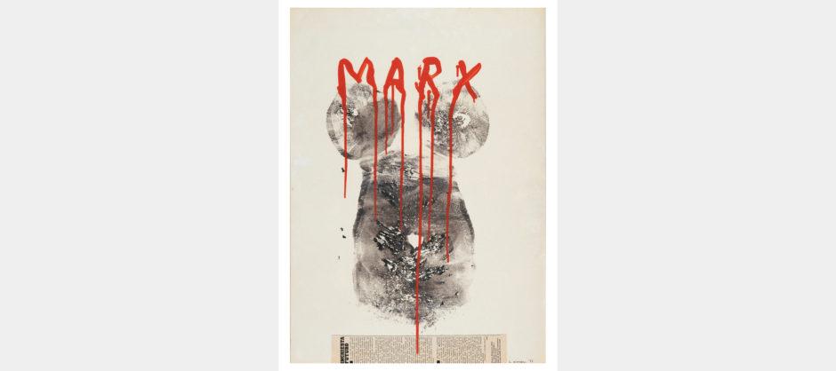 Lucia Marcucci 1977, Marx, impronte collage e acrilico su cartoncino, cm 70x50