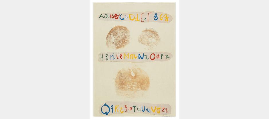 Lucia Marcucci 1977, Abc, impronte collage e acrilico su cartoncino, cm 70x50