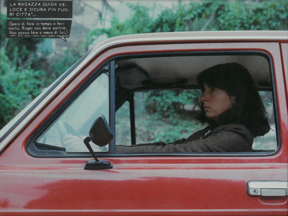 Nicole Gravier, In macchina rossa. Mythes et Clichés. Fotoromanzi, serie Attesa, 1976-80, collage su fotografia, cm 30x40