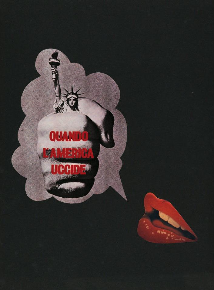 Lucia Marcucci 1970, Quando l'America uccide, collage su cartoncino, cm 70x50