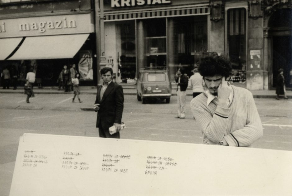 Group of Six Authors, Exhibition-action on the Republic Square, Zagreb, 19. 10. 1979, 1979, bw photograph, 101 x 151 mm, Marinko Sudac Collection (1000x672)