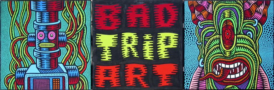 Prof Bad Trip Bad Trip Art 1994 acrilici su tela cm 40x120 (trittico)