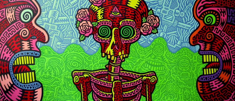 Prof Bad Trip Grateful Dead - Omaggio a Jerry Garcia 1996 acrilici su tela cm 60x140
